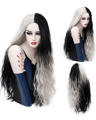 Ombre White With Black Wig Long Wave Wigs Stylish Party Cosplay Wigs Synthetic Heat Resistant 32inch