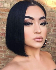 Remy Human Hair Straight Short Bob 4x4 Lace Closure Wig