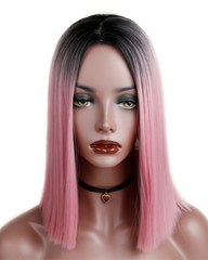 Ombre Pink Short Straight Heat Resistant Synthetic Hair Wig For Black/White Women Cosplay Or Party Bob Wigs