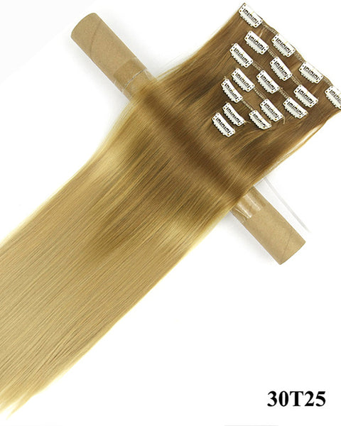 Clip In Synthetic Hair Extensions 7 Pieces 24inch Ombre Long Hairpiece Straight Hair