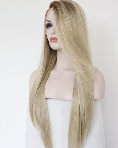 Ombre Blonde Light Brown Roots Long Natural Straight Heat Resistant Synthetic Wig 22inch