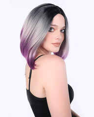 Ombre Wigs Short Bob Wigs Purple Colorful Party Wig Synthetic Daily Wig for Women 13inch