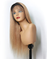 Ombre Remy Human Hair Straight 360 Lace Frontal Wig 10-22inch 1B/27 Color
