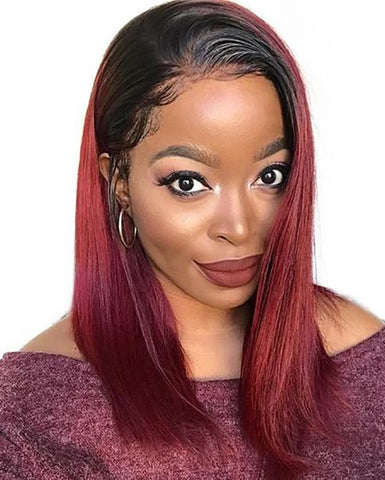 Remy Human Hair Straight 360 Lace Frontal Wig 8-26inch 1B/99J Color