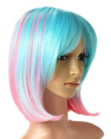 Pink/Green Color Ombre Short Bob Wig Shoulder Length Hair Extension