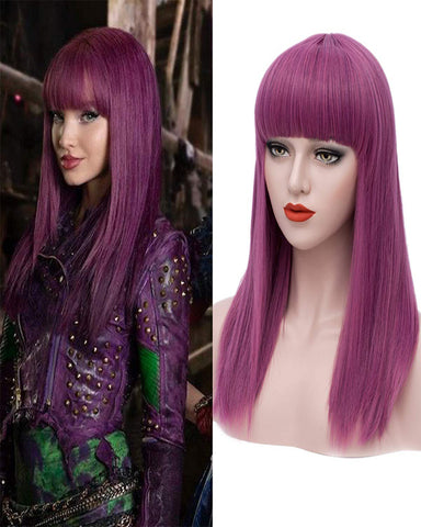 Long Purple Wigs for Kids Straight Cosplay Wig Anime Costume Party Wig