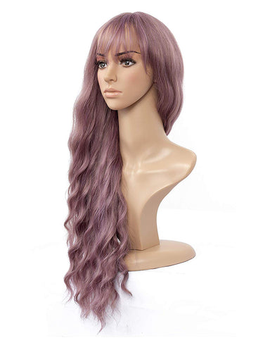 26 inch Long Wavy Wig With Air Bangs for Party Cosplay Heat Resistant Synthetic Wig Grey Pink Color