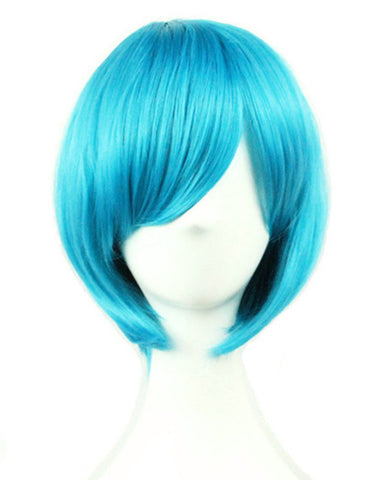 Short Blue Bob Wigs Straight Wigs with Bangs for Women Girls 11 Inch