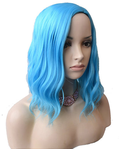 Synthetic Wave Hair Short Bob Wig for Cosplay Costume Party Light Blue Color
