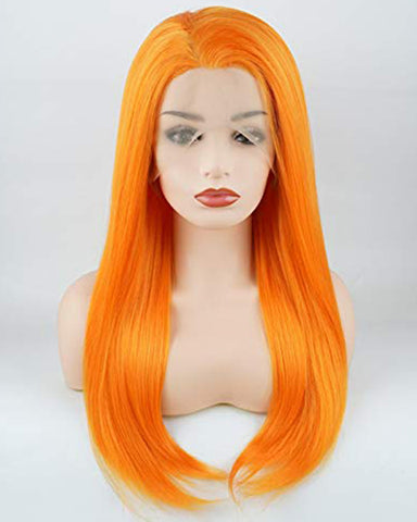 Straight Long 24inch Orange Heavy Density Realistic Synthetic Lace Front Wigs