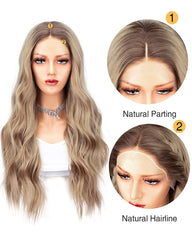 Ombre Blonde Synthetic Lace Front Wig For Women Brown Roots Ash Blonde Long Wave Wigs Heat Resistant 22 Inches