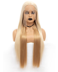 Kanekalon Fiber Synthetic Long Silky Straight 13x6 Lace Front Wig Blonde 22inches
