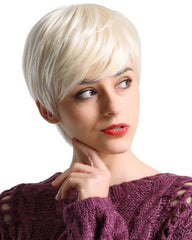 Short Platinum Blonde Human Hair Wigs for Women Pixie Cut Wig With Bang Natural Daily Use Hair