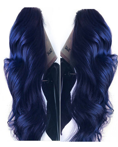 Remy Human Hair Straight 13x4 Lace Frontal Wig 10-24inch Dark Blue Color