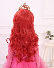 Long Wavy Red Synthetic Cosplay Hair Wig For Children 24inch