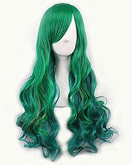 Women's Green Wig Long Wave Hair Heat Resistant Fiber Wigs Harajuku Lolita Style for Cosplay Halloween Party