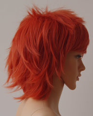 Women Men Short Cosplay Wigs Fluffy Layered Straight Orange Anime Party Costume Synthetic Full Hair Wig Oblique Bangs