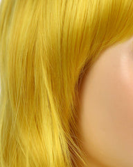 Women's Long Curly Wavy Yellow Wig Natural Looking Cosplay Synthetic Colorful Bangs Wig for Costume Halloween