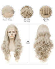 Long Wave Synthetic Hair Wigs For Women Blonde Lace Front Wigs Natural Hairline 26inch