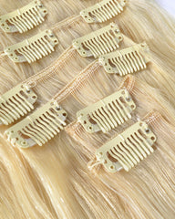 Clip In Human Hair Extensions Brazilian Remy Straight Hair 613 Color 7 Pieces/Set 120 grams