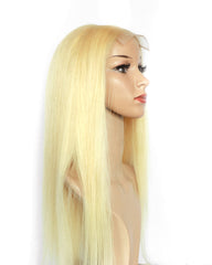 Remy Human Hair Straight 4x4 Lace Closure Wig 10-24inch 613 Color