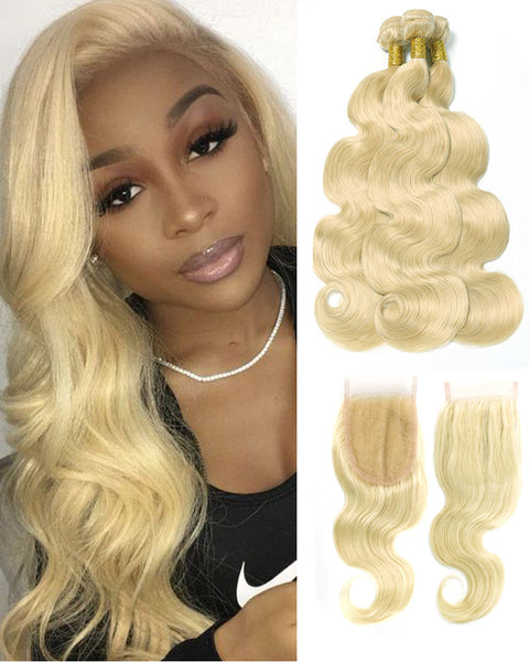 Remy Brazilian Human Hair Bundles Weaves with 4x4 Lace Closure Body Wave Hair 613 Color
