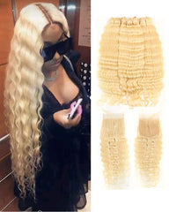 Remy Brazilian Human Hair Bundles Weaves with 4x4 Lace Closure Deep Wave Hair 613 Color