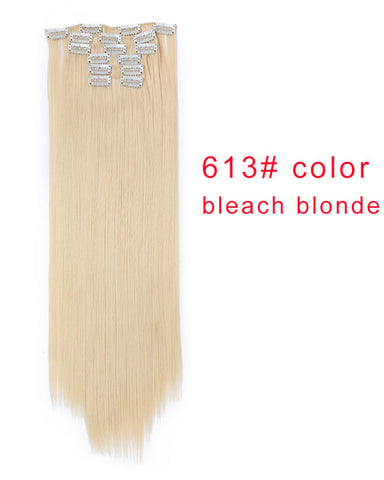 Clip In Synthetic Hair Extensions 6 Pieces 22inch Long Hairpiece Straight Hair