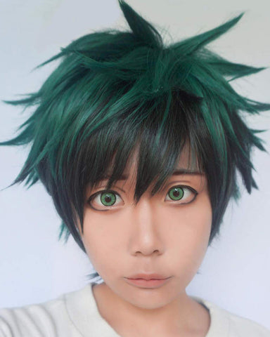 All Green Short Curly Prestyled Natural Cosplay Wig for Halloween