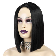 "ATOZWIG Short Bob Wigs 12"" Straight Silky Hair Synthetic Colorful Cosplay Daily Party Wig for Women Natural As Real Hair+ Free Wig Cap (Black)"