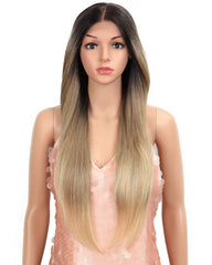 28inch Lace Frontal Wigs Long Straight Wig Ombre Blonde Synthetic Wig