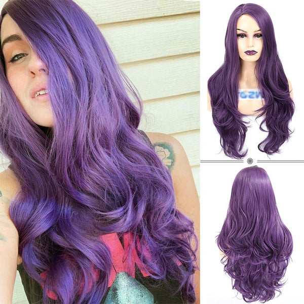 ATOZWIG Long Wavy 22Inch Purple Heat Resistant Fiber Synthetic Cosplay Wigs
