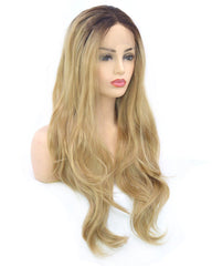 Dark Brown Rooted Light Blonde Lace Front Wigs for Women  Synthetic Hair Wavy Wig with Flawless Hairline 22 inches
