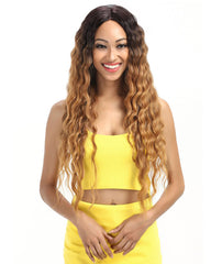Ombre Long Wavy Synthetic Wigs For Black Women 130% Density Wigs Lace Front Wigs 30inch Black to Brown Color