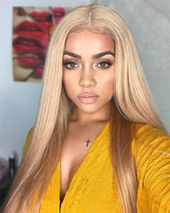 Synthetic Long Straight 13x6 Lace Front Wig Kanekalon Fiber Hair Blonde Color 22inch