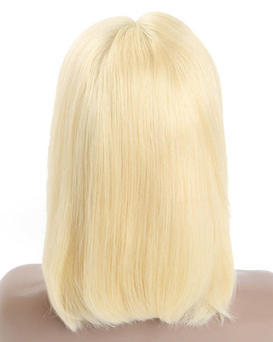 Remy Human Hair Straight Short Bob 13x6 Lace Front Wigs 613 Color