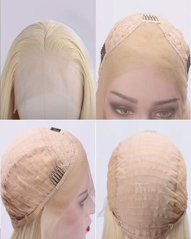Synthetic Blonde Lace Front Wigs for Women Long Straight Wig Natural Looking Wig for Daily Use Heat Resistant Fiber