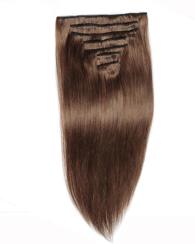 Clip In Human Hair Extensions Brazilian Remy Straight Hair #30 Light Brown Color 7 Pieces/Set 90 grams