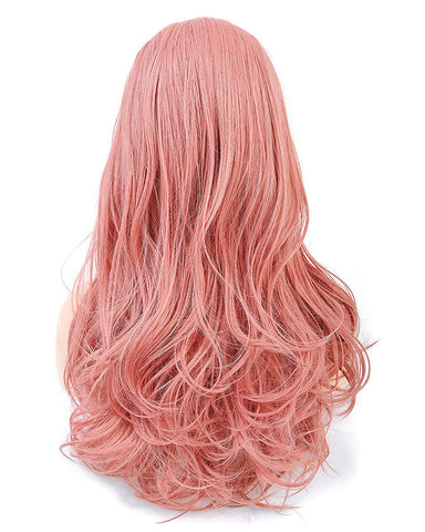 Long Wavy 22Inch Orange Pink Heat Resistant Fiber Synthetic Cosplay Wigs
