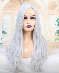 ATOZWIG Long Straight 22Inch Silver Heat Resistant Fiber Synthetic Cosplay Wigs
