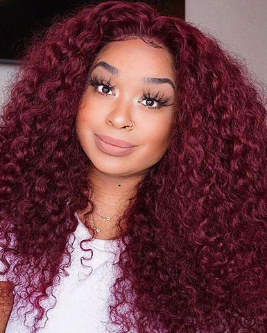 Remy Human Hair Curly Wave Full Lace Wig 16-24inch 99J Color