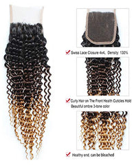 Remy Brazilian Ombre Human Hair 3 Bundles Weaves with 4x4 Lace Closure Curly Wave Hair 1B/27 Color