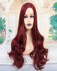 ATOZWIG Long Wavy Red Heat Resistant Fiber Synthetic Cosplay Wigs