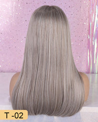 Long Synthetic Wig with Bangs Dark Root Ombre Color High Density Natural Headline Heat Resistant Hair Wigs for Women 18""