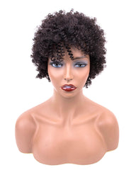Short Bob Wigs For Black Women Remy Afro Curly Human Hair Wig 4inch 100% Human Hair Machine Made Curly Remy Hair Wigs