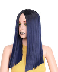 19 Inch Short Ombre Blue Straight Synthetic Wig for Women can be Curled High temperature Fiber