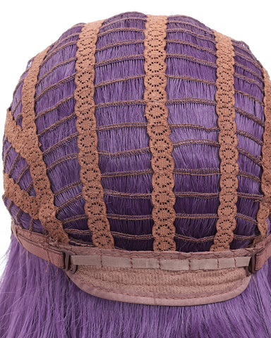 Long Wavy 22Inch Purple Heat Resistant Fiber Synthetic Cosplay Wigs