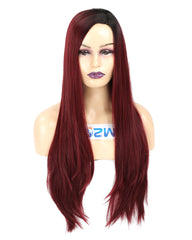 Long Straight Ombre Color Wine Red Heat Resistant Fiber Synthetic Cosplay Wigs