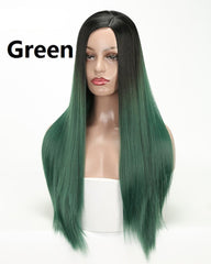 Straight Synthetic Wigs For Woman 26 Inch Long Heat Resistant Hair Wig Black Ombre Purple Green Red Color
