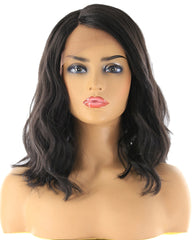 Lace Front Synthetic Hair Wigs Ombre Brown Blonde Color Natural Wave Side Part 12'' Short Bob Lace Frontal Wig For Women